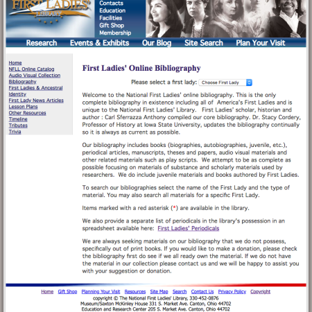 First Ladies Bibliography